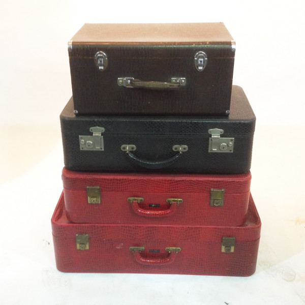 1: Stack of Retro Crocodile Skin Suitcases