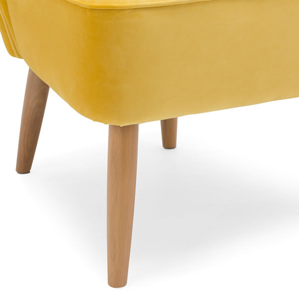 4: Velvet Cocktail Chair - Yellow
