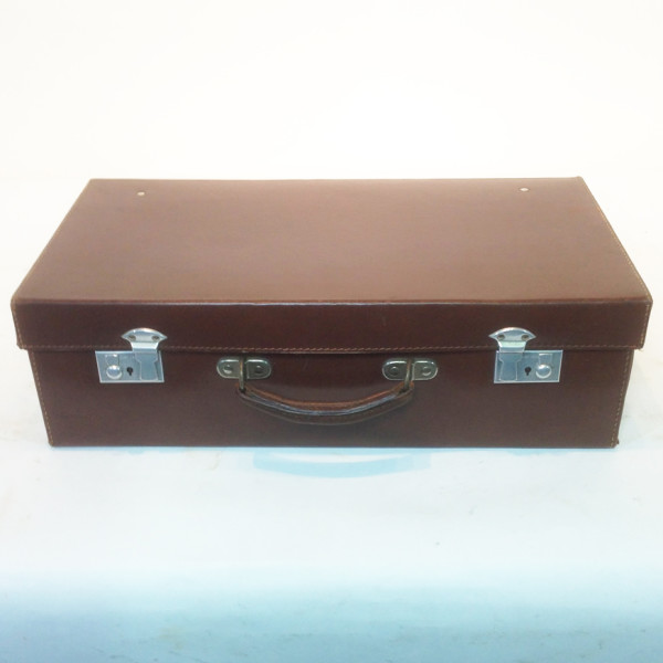 1: Dark Brown Leather Suitcase