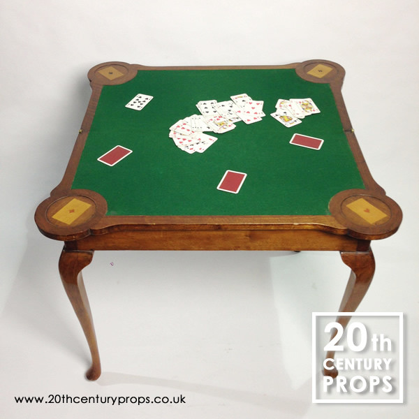 1: Regency walnut folding card, bridge, poker table