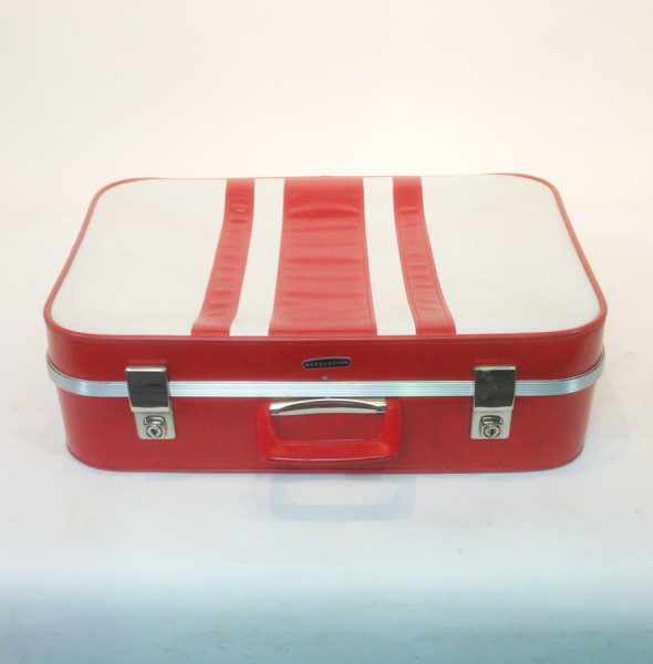 1: White with Red Stripes Soft Shell Retro Suitcase