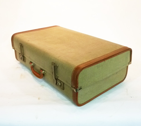 2: Cream Wood Finish Suitcase