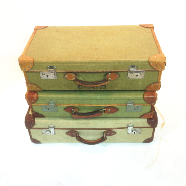 2: Stack of Green Vintage Canvas Suitcases