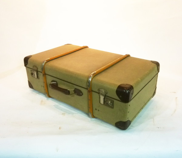 2: Yellow Canvas with Wood Finish Suitcase