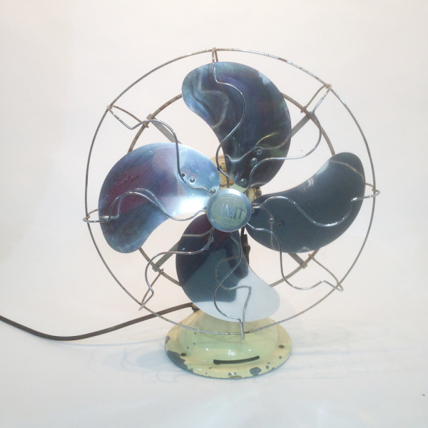 4: Small Industrial desk fan - Cream