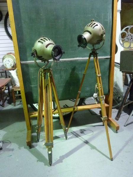 1: Vintage 'FURSE' Spotlights on wooden tripods