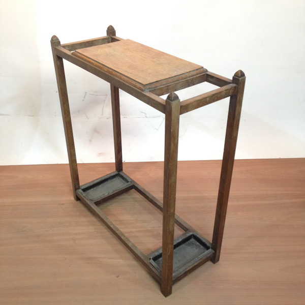 2: Wooden Umbrella Stand and Side Table