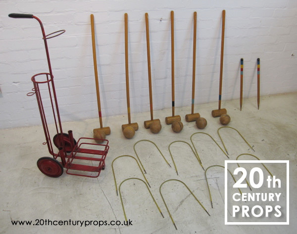 1: Vintage croquet set with trolley
