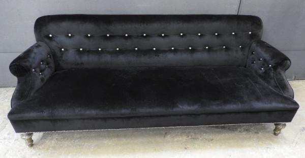 2: Black velvet 3 seater sofa