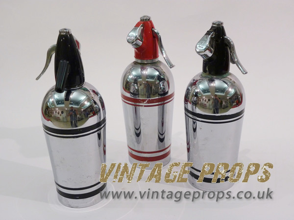 2: Vintage Chrome Soda Bottles