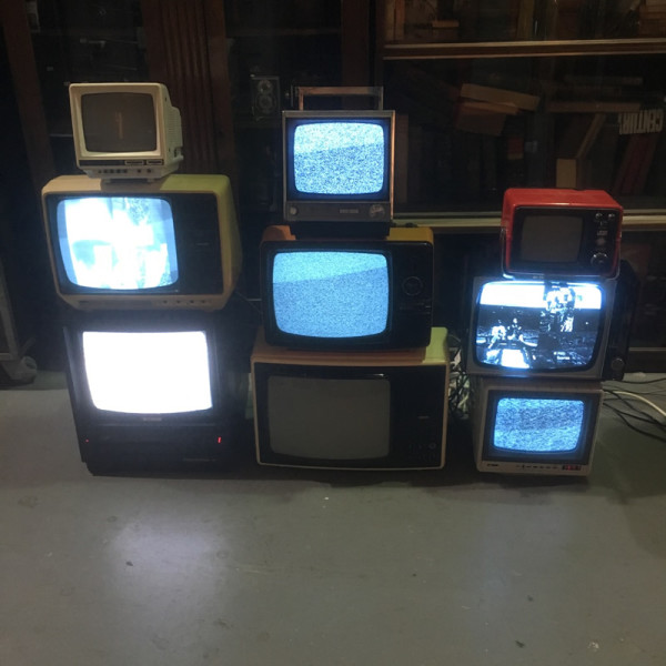 1: Stack of vintage TV's - fully working