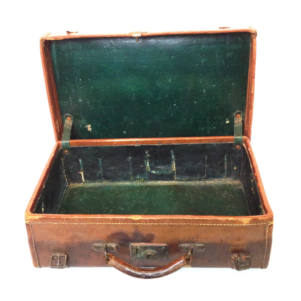 5: Dark Brown Stained Leather Vintage Suitcase with Initials