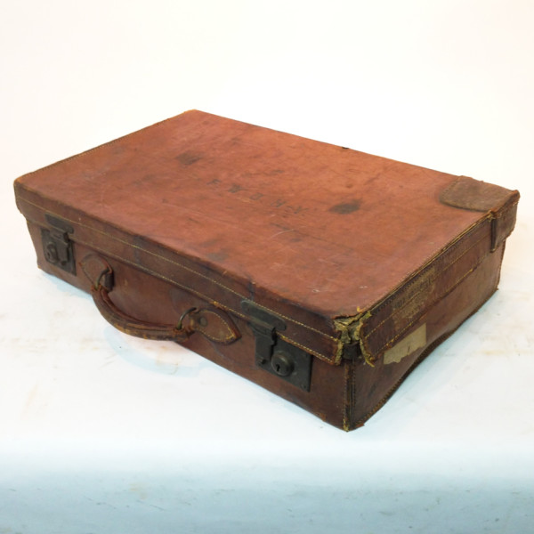 2: Brown Leather Vintage Suitcase with Initials