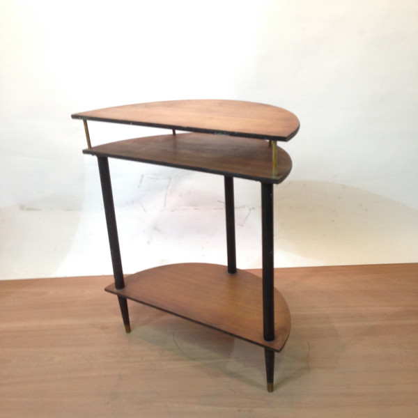 2: Small Wooden Side Table Half Circle Top