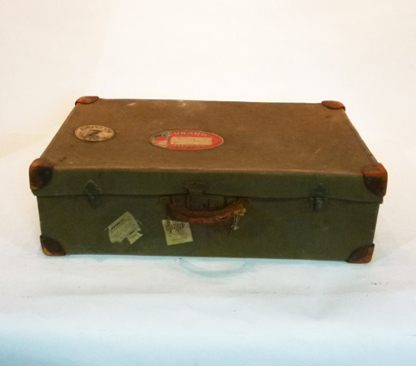 5: Dark Green Canvas Suitcase