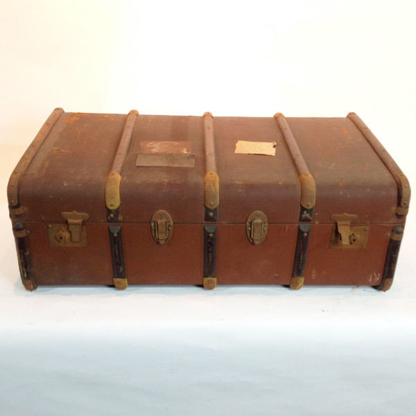 4: Long Brown Vintage Travel Trunk
