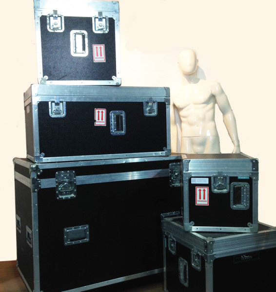 1: Stack of Various Sized Flight Cases