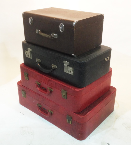 2: Stack of Retro Crocodile Skin Suitcases
