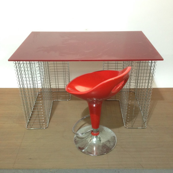 4: Ruby red glass top desk with chrome supports