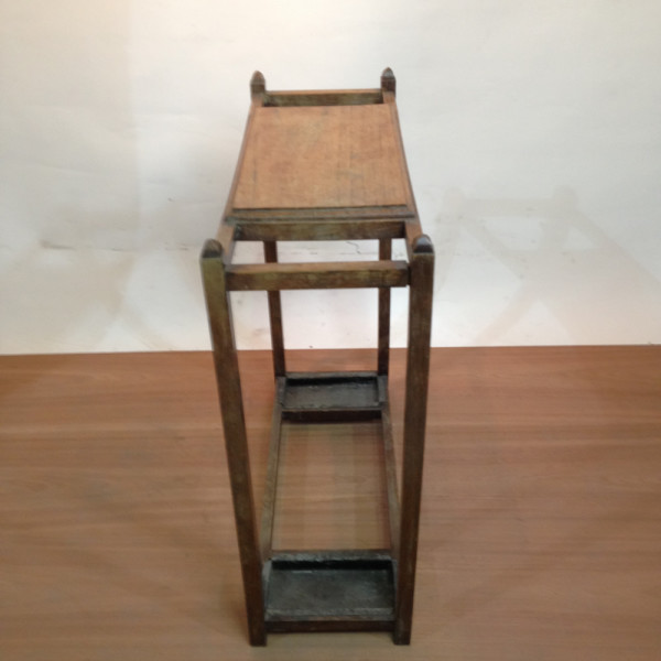 1: Wooden Umbrella Stand and Side Table