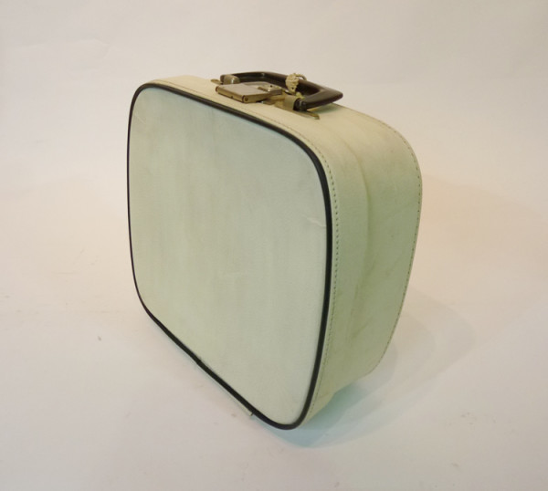 3: Small White with Blue Trim Vanity Case