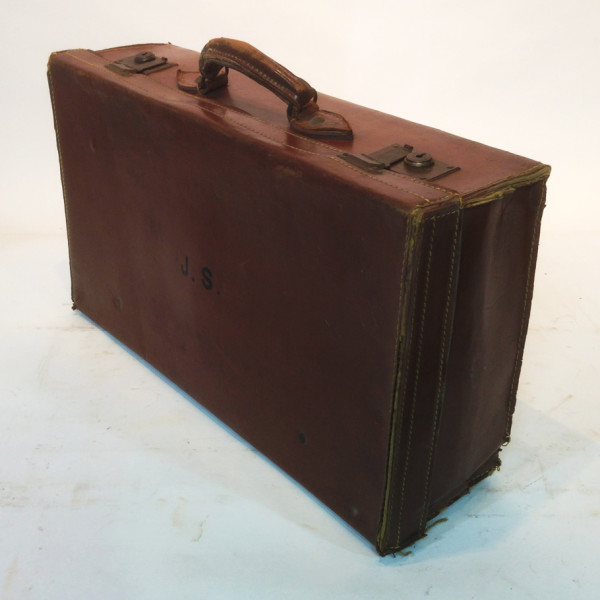 4: Brown Leather Suitcase with Initials