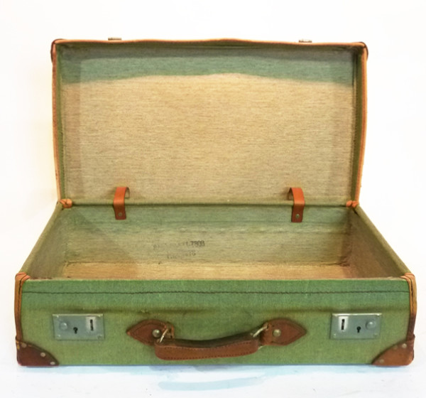 4: Green Canvas with leather Trim Vintage Suitcase