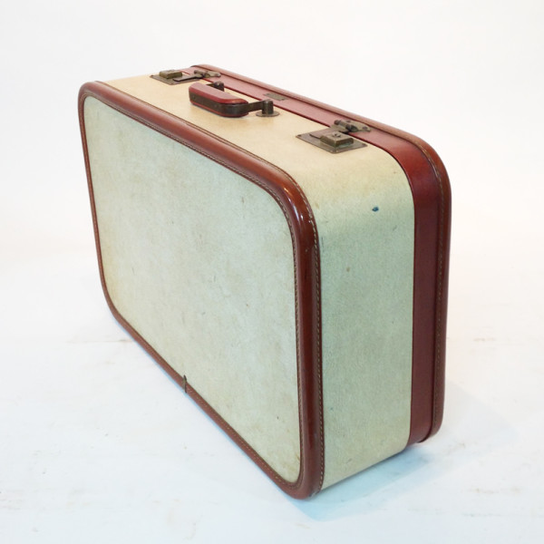 4: White with Red Trim Retro Suitcase