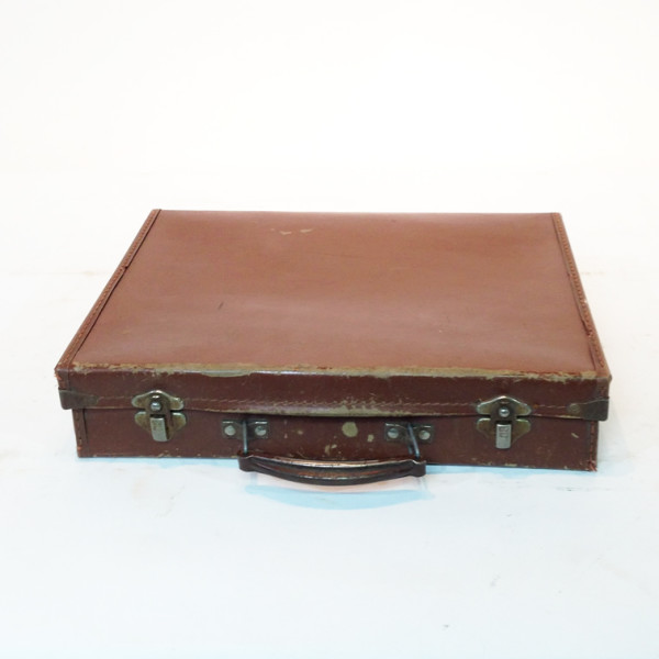 1: Brown Leather Slim Briefcase