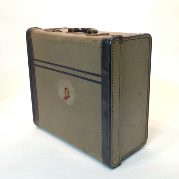 4: Small Patterned with Blue Trim Travel Case