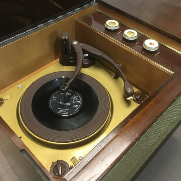 7: Vintage music cabinet with record player