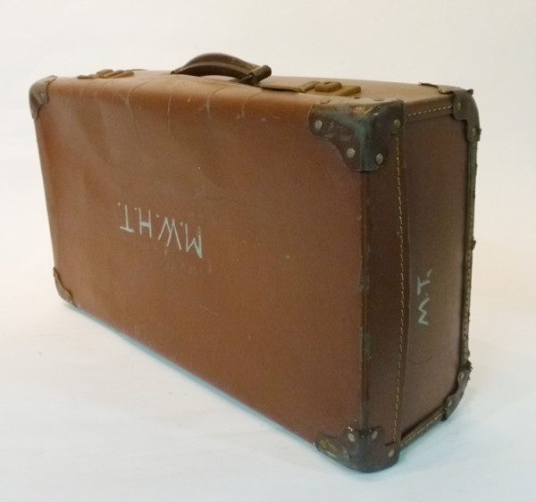 1: Light Brown Leather Suitcase with Initials