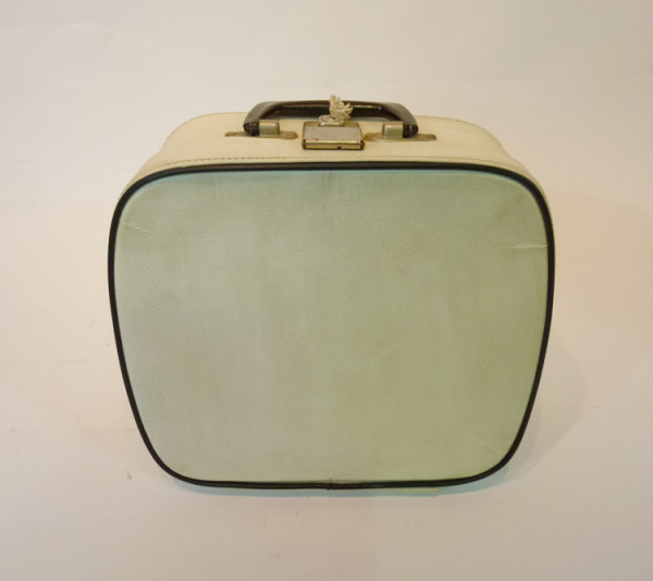 2: Small White with Blue Trim Vanity Case