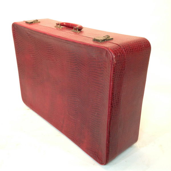 5: Red Crocodile Skin Soft Shell Suitcase