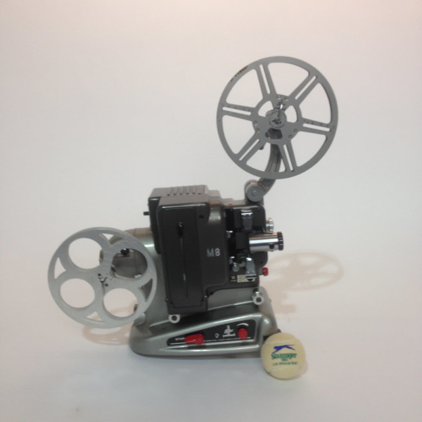 1: Silver and Black Bolex 8mm Film Projector