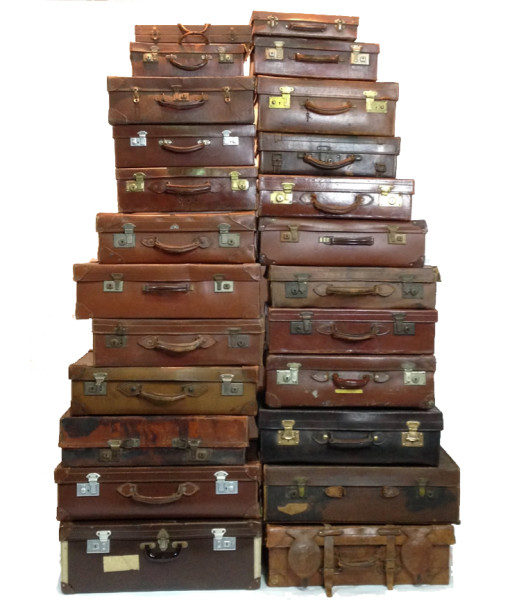 1: Large Stack of Various Brown Leather Suitcases