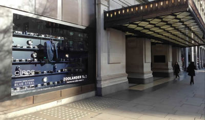 Zoolander No.2 'Blue Steel' movie press launch in colaboration with Mario Testino / Window Display at Selfridges London