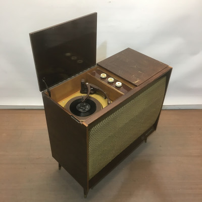 Vintage music cabinet with record player