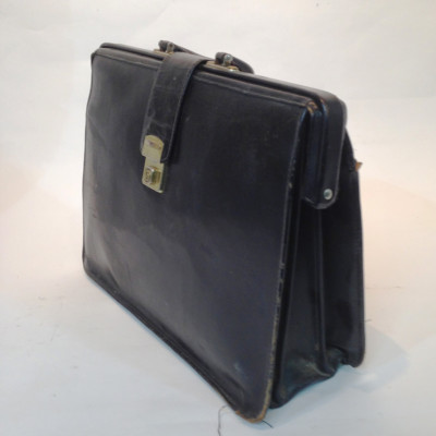 Black Leather Top Opening Briefcase
