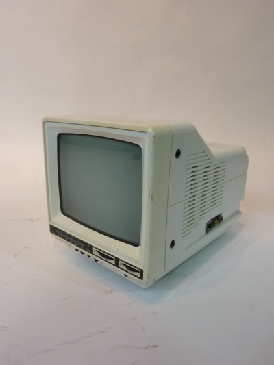 Mini Portable White 1990's TV