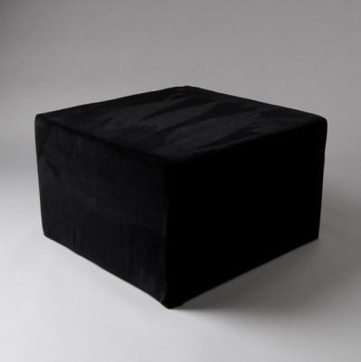 Large Black Velvet Square Pouf