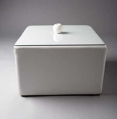 White Square Pouf Table