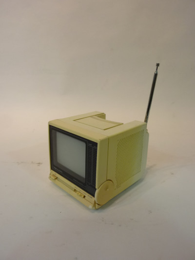 White Portable Mini 1980's TV