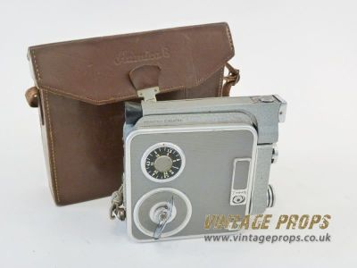 Vintage 8mm movie camera with leather case