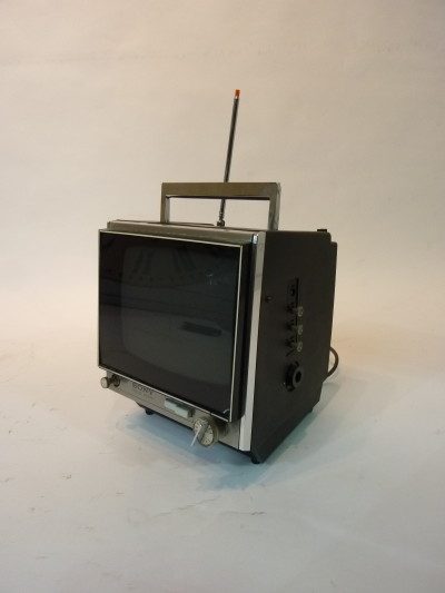 Black Mini Portable 1980's TV