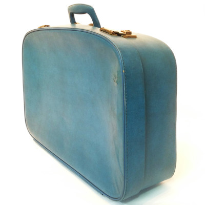 Large Blue Soft Leather Suitcase