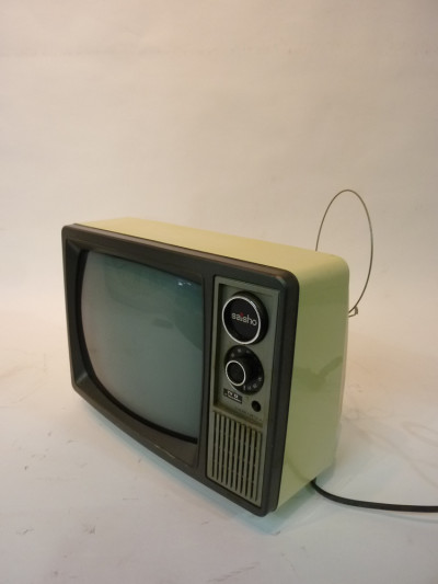 White Portable 1970's TV
