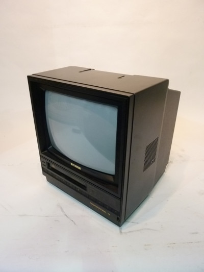 Black Portable TV Monitor with VHS Player