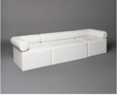White Single Bolster Modular Seat Sofa
