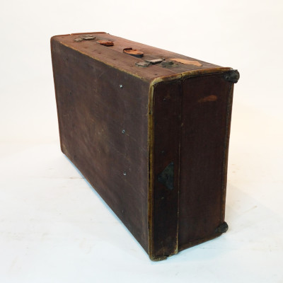 Dark Brown Stained Leather Vintage Suitcase 2